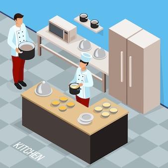 Professione della composizione isometrica del cuoco unico con il personale di cucina durante la preparazione del cibo in cucina