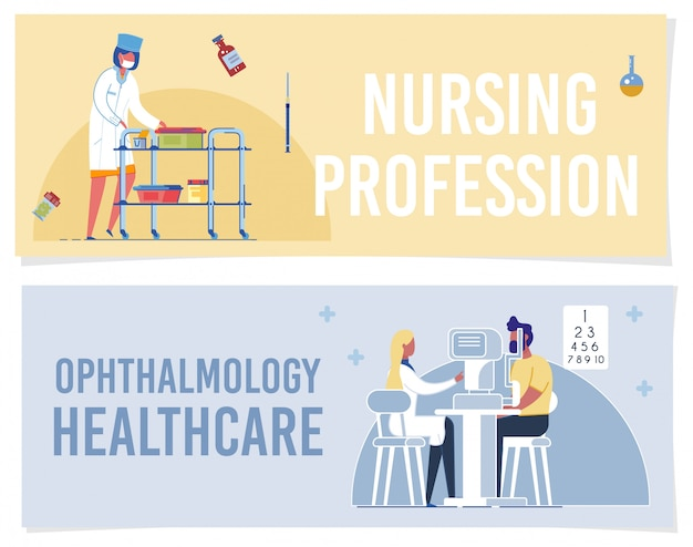 Professione di professione d'infermiera ophthalmology healthcare banner