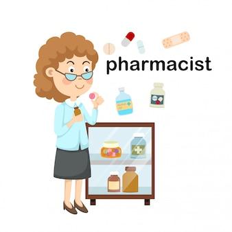 Professione farmacista.illustrazione vettoriale.
