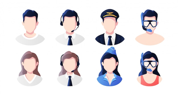 Professione, occupazione persone avatar impostati. supporto, pilota, hostess, vacanzieri. icone delle foto del profilo. volti maschili e femminili. design semplice moderno del fumetto sveglio. illustrazione stile piatto.