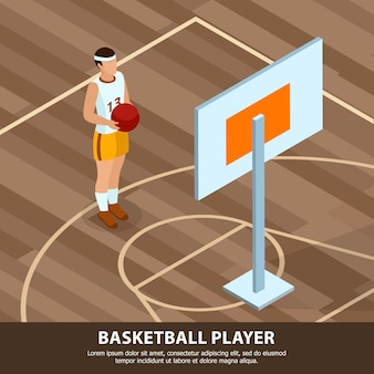 Professioni del giocatore di pallacanestro della gente in uniforme di sport sul campo di gioco isometrico