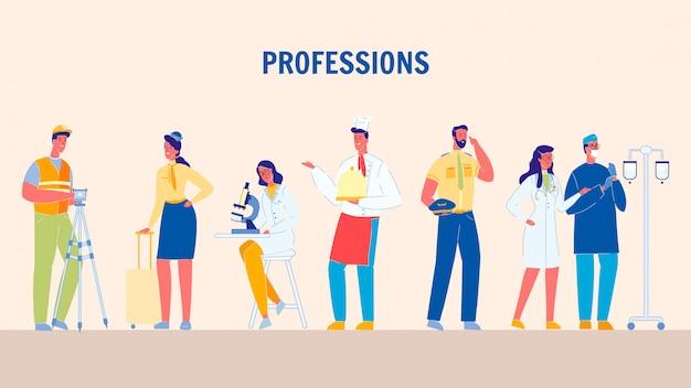 Professioni, illustrazioni piane di vettore di lavori messe