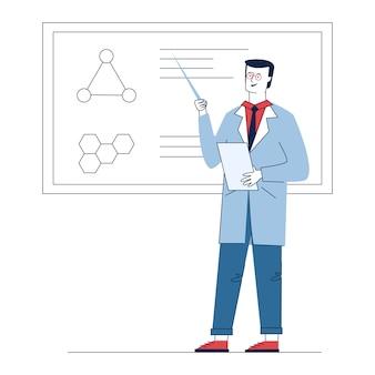 Professore che spiega i risultati della ricerca medica