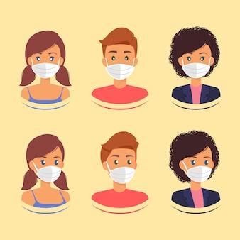 Profili di personaggi con maschera protettiva medica