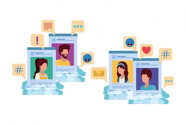 Profili di social media con fumetto avatar carã¡cter