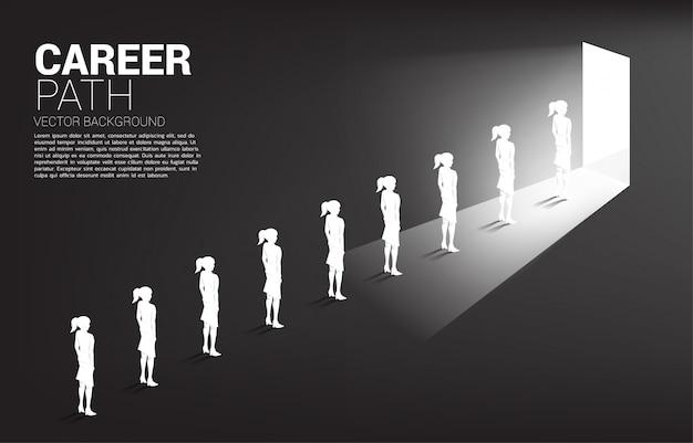 Profili il gruppo di coda della donna di affari per uscire la porta. carriera professionale e assunzioni.