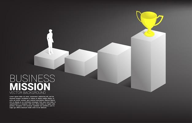 Profili l'uomo d'affari che progetta di ottenere il trofeo sopra il grafico. concetto di business della missione obiettivo e visione