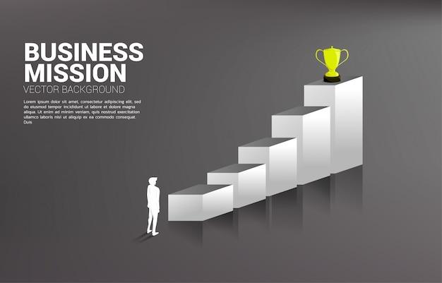Profili l'uomo d'affari che progetta di ottenere il trofeo sopra il grafico.
