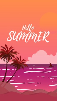 Profili la vista del mare del paesaggio con gli alberi di cocco dell'estate mentre il tramonto nel tempo del tramonto e del cielo con il grande sole nel colore arancio