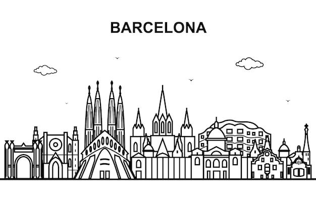 Profilo della linea dell'orizzonte di paesaggio urbano di giro della città di barcellona
