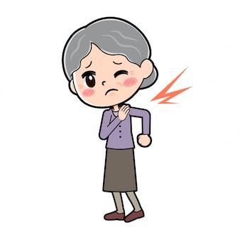 Profilo della nonna con la spalla rigida