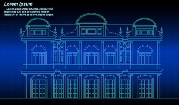 Profilo di edificio storico tailandese.