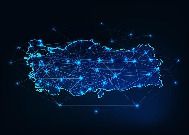 Profilo di mappa turchia con stelle e linee quadro astratto.