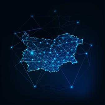 Profilo di sagoma incandescente mappa bulgaria fatta di triangoli di punti linee stelle