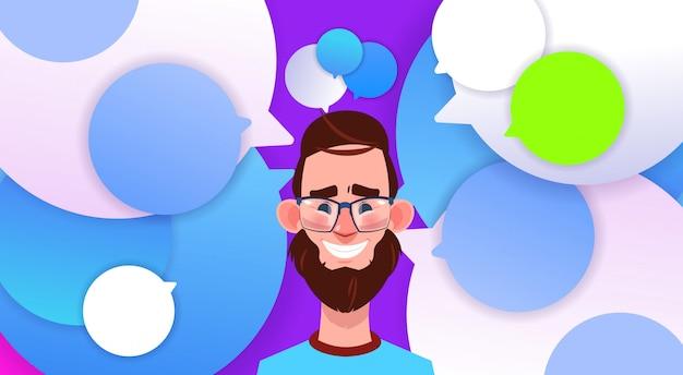 Profilo nuova idea chat supporto bolle backgroung maschio emozione avatar uomo fumetto icona ritratto sorriso barba viso illustrazione vettoriale