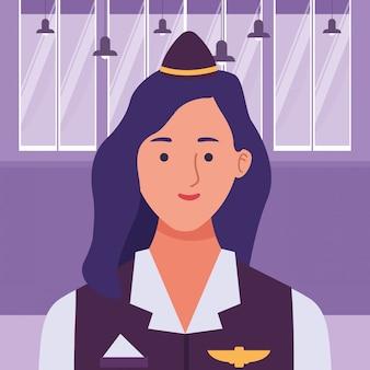 Profilo sorridente della donna di aereo di linea di hostess
