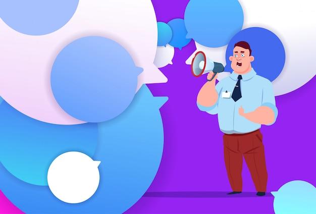 Profilo uomo d'affari attesa megafono nuova idea chat supporto bolle backgroung maschio emozione avatar uomo icona fumetto a figura intera