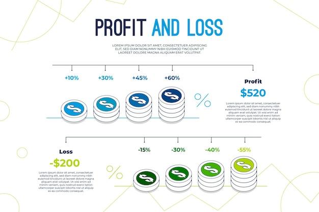 Profitti e perdite - concetto di infografica