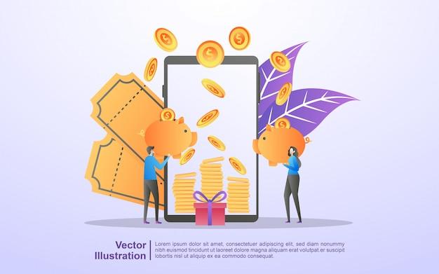 Profitto aziendale e-commerce, guadagnare denaro, negozio online, programma di ricompensa, ottenere buoni e sconti