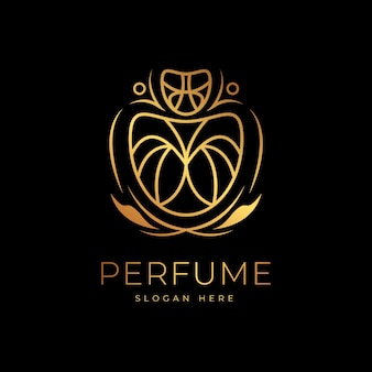Profumo logo design dorato di lusso
