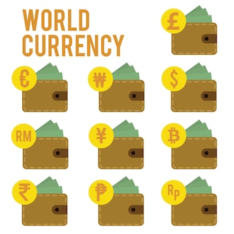 Progetta valuta mondiale piatta