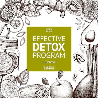 Progettare con l'illustrazione disegnata a mano della disintossicazione. sfondo di schizzo di alimenti biologici. ingredienti dietetici efficaci. modello vintage