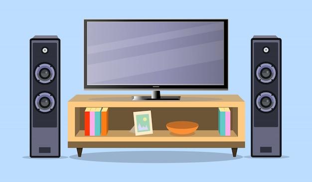 Progettare la zona tv in uno stile piatto.