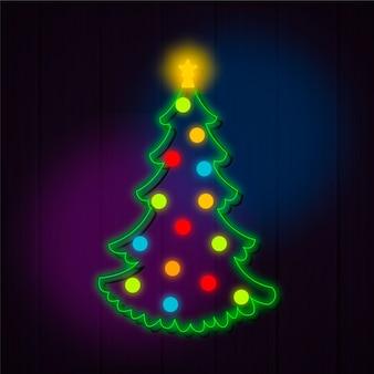 Progettazione al neon di concetto dell'albero di natale