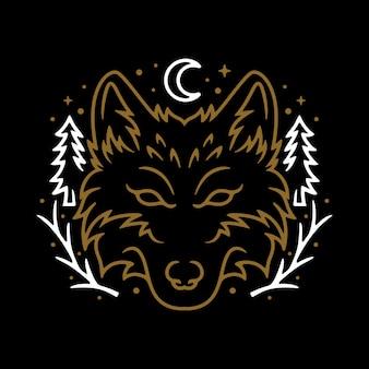 Progettazione animale della maglietta di arte di wolf night line graphic illustration vector