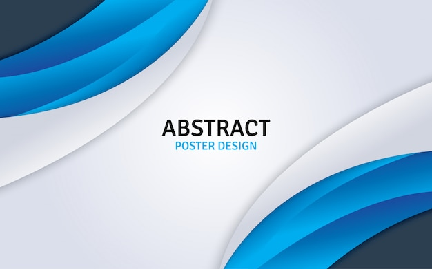 Progettazione astratta del manifesto con fondo blu e bianco.