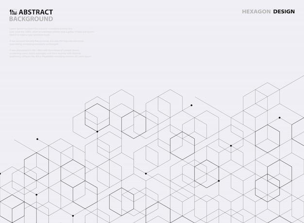 Progettazione astratta del modello di esagono nero su fondo bianco.