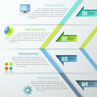 Progettazione astratta del modello di infographics con le frecce numerate