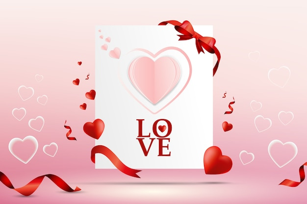 Progettazione astratta del modello di vettore di valentine day love card