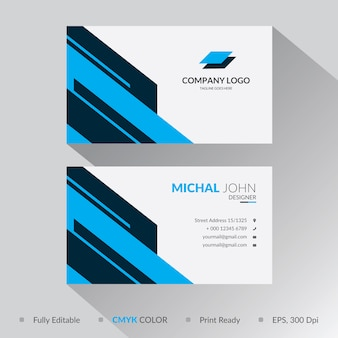 Progettazione blu del modello del biglietto da visita di forma geometrica