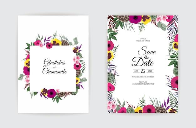 Progettazione botanica del modello della carta dell'invito di nozze.