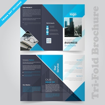 Progettazione brochure aziendale trifold blu