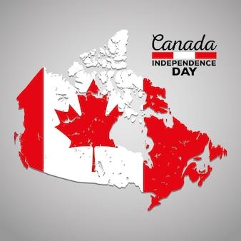 Progettazione canadese dell'illustrazione di vettore dell'icona della siluetta della mappa