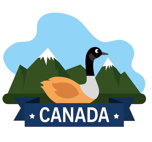 Progettazione canadese dell'illustrazione di vettore dell'icona di scena dell'anatra