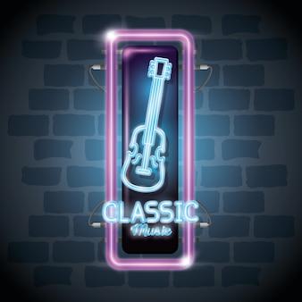 Progettazione classica dell'illustrazione di vettore dell'etichetta del neon della barra di musica