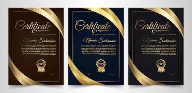 Progettazione creativa del certificato scuro del diploma con il simbolo del premio