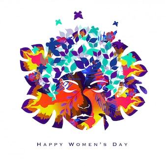 Progettazione creativa della cartolina d'auguri per la celebrazione del giorno delle donne.