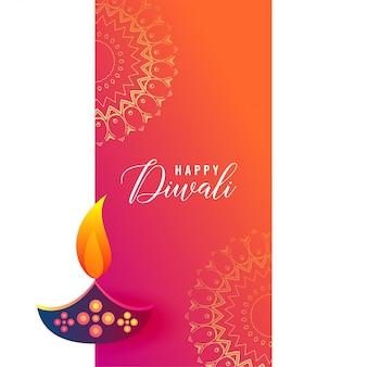 Progettazione creativa di diwali diya sulla priorità bassa della mandala