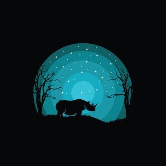 Progettazione creativa di logo di concetto di rinoceronte, illustrazione,