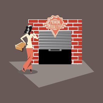 Progettazione d'annata del grunge delle borse di acquisto del deposito della donna retro