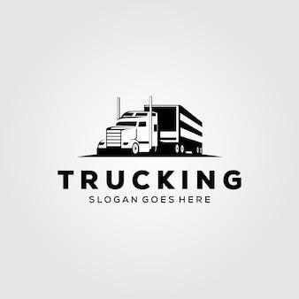 Progettazione d'annata dell'illustrazione della società di consegna di logo del camion