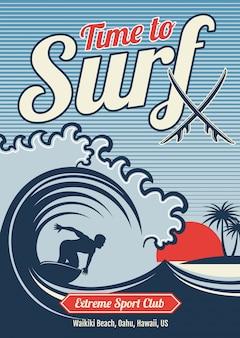 Progettazione d'annata praticante il surfing di vettore della maglietta dell'hawai di vettore