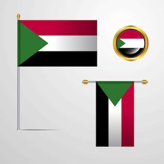 Progettazione d'ondeggiamento della bandiera del sudan con il vettore del distintivo