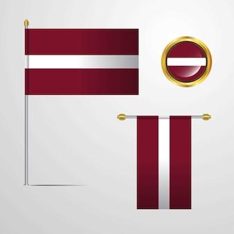 Progettazione d'ondeggiamento della bandiera della lettonia con il vettore del distintivo