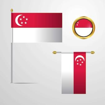 Progettazione d'ondeggiamento della bandiera di singapore con il vettore del distintivo