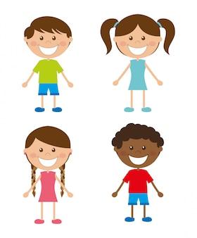 Progettazione dei bambini sopra l'illustrazione bianca di vettore del fondo